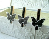 Black Tie Butterfly Clothespin clips - Set of 6 Black glitter placecard holders