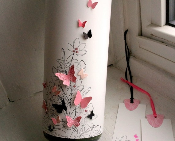 Butterfly wine bottle wrap - pink and black on white