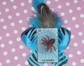 Rockabilly Burlesque Goth La Arana Lotteria Tarot Spider Turquoise Feather Hair Bow