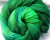 "Hand Dyed Sock Yarn -- ""Emerald City"""
