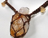 Raw Citrine Crystal Amulet Necklace