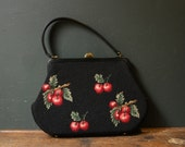 Double Cherries Needlepoint Purse  / Rockabilly Purse