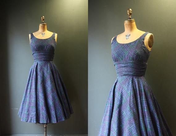 50's Dress  / 1950s Purple Dress / Jonathan Logan