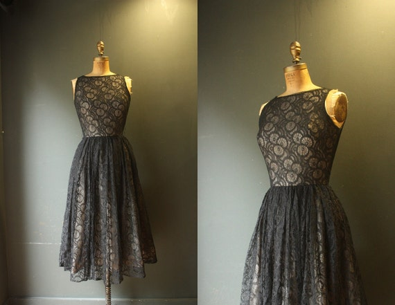 RESERVED Lace dress / 50s Black Lace Illusion Dress
