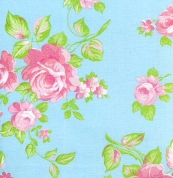 SALE Tanya Whelan Fabric - 1 Yard Blue Darla Rose