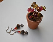Dangle Earrings, Colorful Volcanic Beads, Vintage Findings, Multi Colors, Fire Polished Crystals, Each pair is one of a kind.