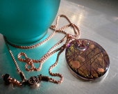 Dichroic Glass Necklace, Fused Glass Pendant, Goldstone, Antiqued Copper, Hand made glass, One of a Kind Gift.