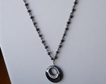 Hemitite Necklace,  Hand linked Hematite beads chain. Southwestern, Goth, Steampunk