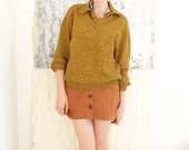 1950 Mustard Yellow Pullover Sweater / M or F / Large