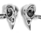 Sterling Silver Bird Skull Cufflinks