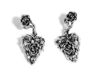 Sterling Silver Heart of Roses Dangly Pin Earrings