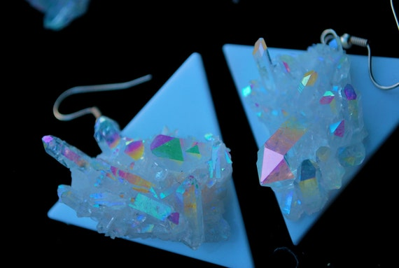 Hologram Triangle Angel Aura Quartz Cluster Earrings