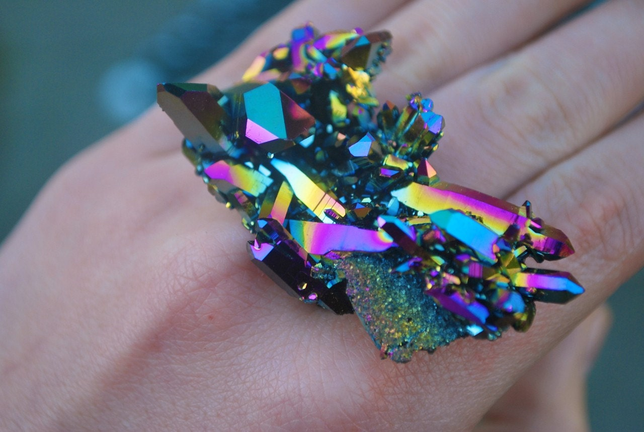 Holographic Spaceship Angel Aura Rainbow Titanium Quartz