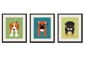 Dog wall prints. Kids art. Childrens art. Puppy dog nursery wall art. Baby nursery art for kids decor. SET OF ANY 3 dog prints by WallFry