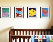 Nursery art prints. Kids art prints. SET OF 4 sea creature prints, modern ocean animals artwork, beach theme paintings, for kids rooms