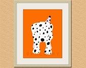 Dalmatian dog print. Dog nursery artwork for baby & kids room decor. Custom colors, orange and white by WallFry
