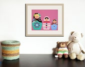 Nursery art print. Matryoshka Dolls Print girls. 11x14 Babushka, Russian Dolls in pink. Child baby artwork, kids wall art rooms & playroom