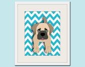 Dog art print, chevron baby nursery art for children. Kids puppy dog wall art. Mastiff print by WallFry