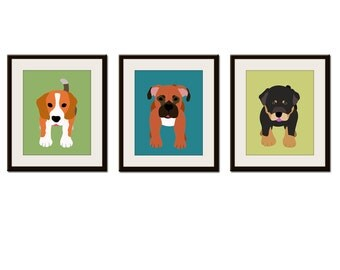 Dog wall prints. Kids art. Childrens art. Puppy dog nursery wall art. Baby nursery art for kids decor. SET OF ANY 3 dog prints by WallFry