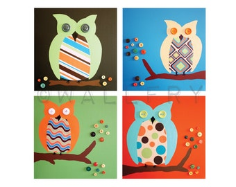 Owl prints Retro nursery artwork for children baby. 4 - 8x8 retro nursery art prints of owls in trees for kids rooms owl nursery by WallFry