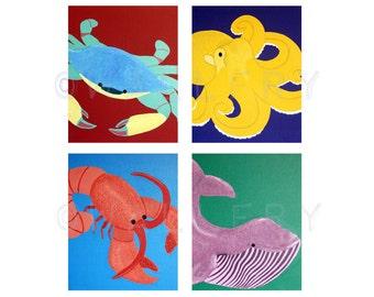 Sea Creature Prints for baby nursery. SET OF 4 prints modern ocean animals artwork, beach theme paintings, for kids rooms bathroom art