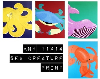Bathroom prints, nursery art sea creature prints. Any one 11x14 underwater themed nursery artwork beach ocean sea life