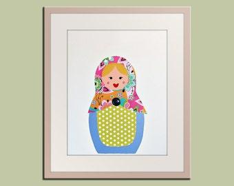 Nursery art print. Matryoshka Dolls Print girls. 8x10 Babushka, Russian Dolls in pink green & white. Child baby artwork, kids wall art rooms