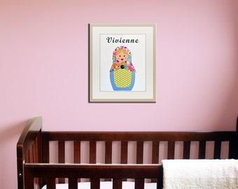 Baby nursery art print. Matryoshka Dolls Print girls. 11x14 Babushka, Russian Dolls. Kids wall art rooms, girl nursery