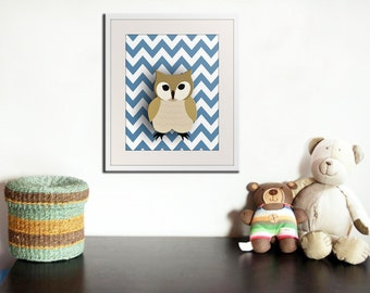 Owl nursery art print for children. Chevron zigzag print. Woodland forest animals, friends & critters  pictures for baby art for kids