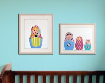 Girl nursery art print. Matryoshka Dolls Print. SET OF 2 prints Babushka, Russian Dolls. Child baby artwork, kids wall art rooms