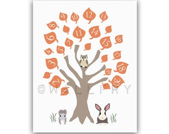 Nursery art print. 123 numbers nursery decor, children art, owl baby nursery print. Woodland wall art for kids, Number tree.