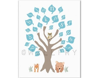 Alphabet Poster art. ABC nursery decor. Baby nursery print, woodland owl art print, childrens art. ABC print