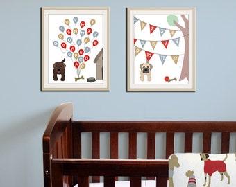 Baby nursery art print. Dog abc nursery decor. Alphabet print, abc print, number print childrens art. SET OF 2 prints by WallFry