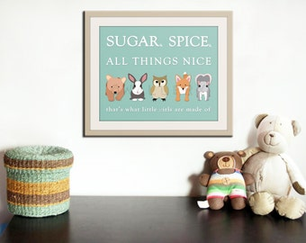 Little girls nursery art. Baby nursery wall art, sugar & spice nursery rhyme. Baby shower gift, newborn baby girl. New print by WallFry