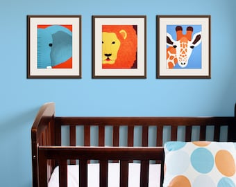 Jungle nursery decor. Baby nursery art prints. Safari theme nursery. Safari prints. Blue, brown, orange colors. SET OF 3 prints by Wallfry