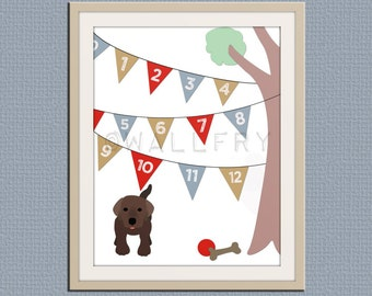 123 Numbers nursery art. Puppy dog nursery print. Bunting flag numbers poster for kids. Children decor, children art, print by WallFry