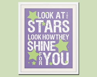 Nursery decor, baby nursery art. Nursery wall quote, inspirational typography print. song lyrics look at the stars. Art print by Wallfry