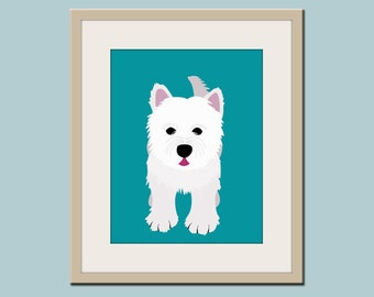 Westie Dog art print. Nursery wall art print. West highland white terrier children decor dog print. Art print by WallFry