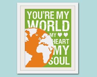 Song lyric nursery decor, baby nursery art. Nursery wall quote, inspirational typography print. you're my world. Print by Wallfry