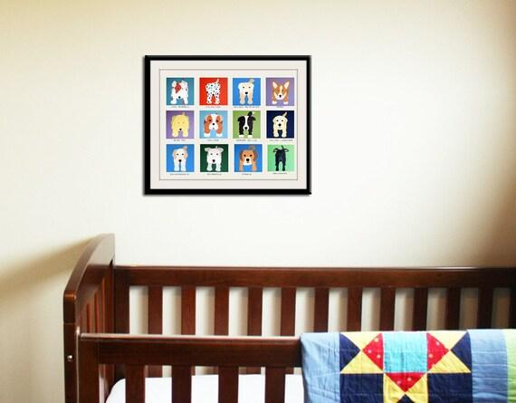 Dog art for kids. Art for children, Baby nursery artwork.  Dog wall prints. Kids decor. Nursery art. Cute dog pictures by WallFry