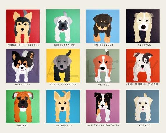 Dog wall prints. Puppy dog themed nursery wall art. Dog print artwork. Baby nursery art for kids decor. Nursery decor