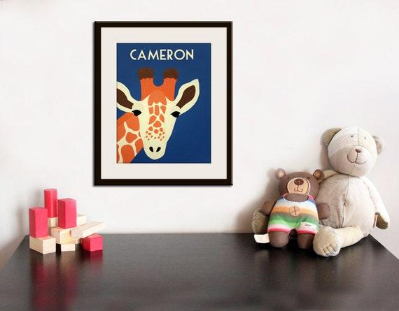 Personalized Giraffe Print baby nursery art. Personalized safari artwork, jungle, child zoo decor animal for kids rooms in blue and orange