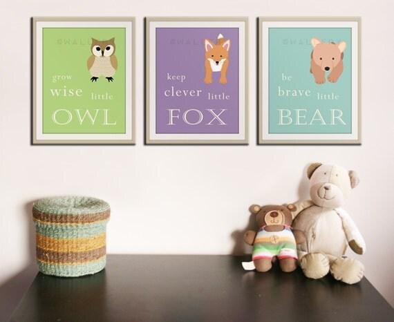 Baby nursery art prints. Inspiration typography prints. Woodland nursery decor. Owl Nursery wall art. ANY 3 PRINTS artwork by WallFry