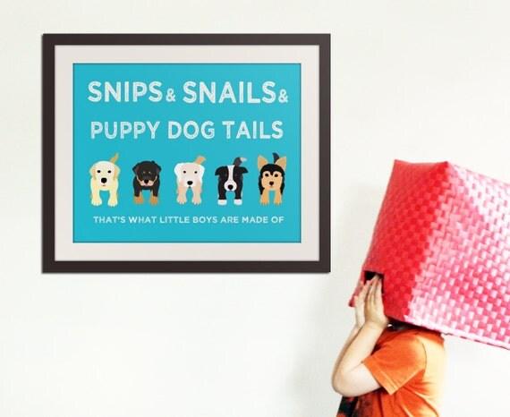 Puppy dog rhyme print. Dog print for boys. Baby boy nursery art print. Baby nursery decor for boys. Art print by WallFry