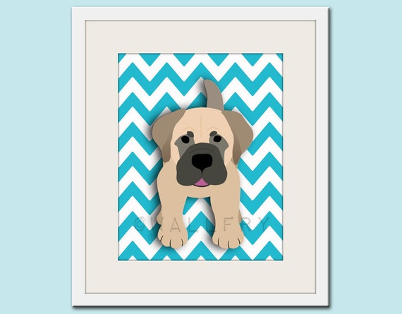 Dog art print, chevron baby nursery art for children. Kids puppy dog wall art. Mastiff print by WallFry