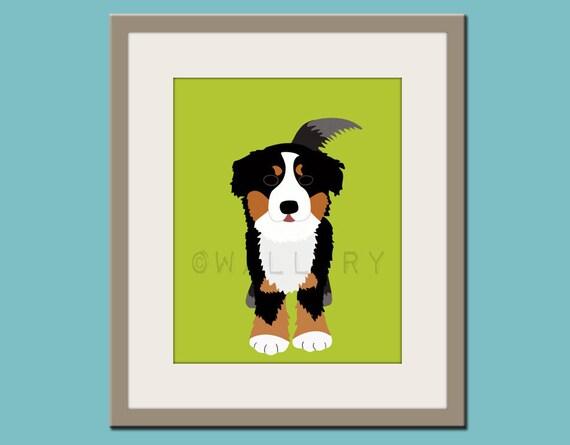 Baby nursery art print. Wall art for children, kid's wall art. Puppy dog print nursery decor. Bernese Mountain Dog print  by WallFry