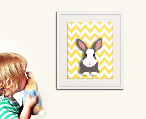 Woodland children spring print. Easter bunny rabbit on chevron background. Bright spring colors. Art print by Wallfry