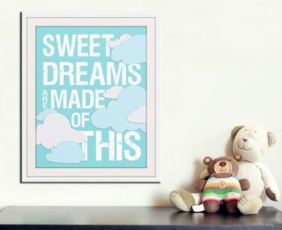 Sweet Dreams Nursery art print. Baby nursery decor inspirational print. Nursery wall quote typography Sweet dreams art print by WallFry