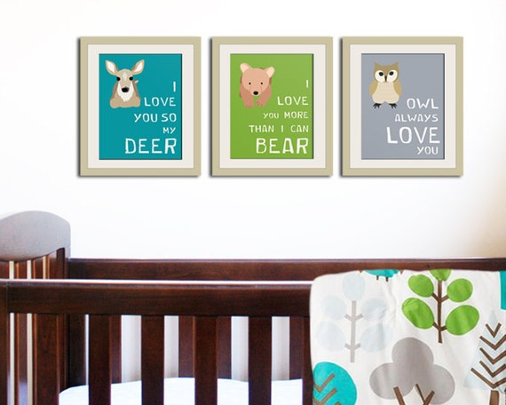 Woodland Nursery Wall Decor : Woodland nursery decor forest animal kids wall art
