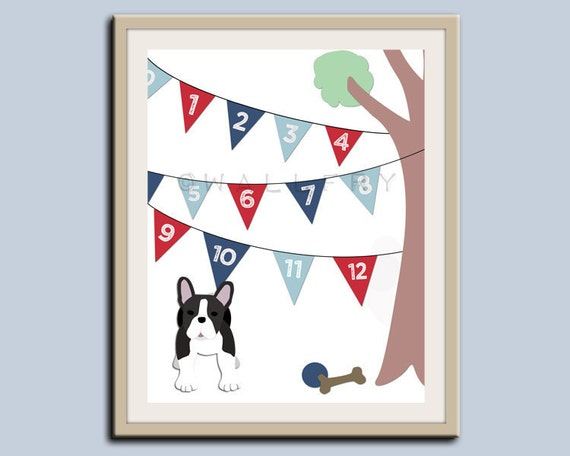 123 Numbers nursery art. Puppy dog nursery print. Bunting flag numbers poster for kids. Children decor, children art, 11x14 print by WallFry